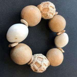 Jewelry - Large Wooden lightwash netted wood bracelet